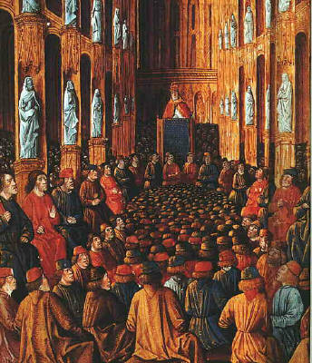 Papa Urbano II al Concilio di Clermont, miniatura dal Livre des Passages d'Outre-mer (1490 circa)