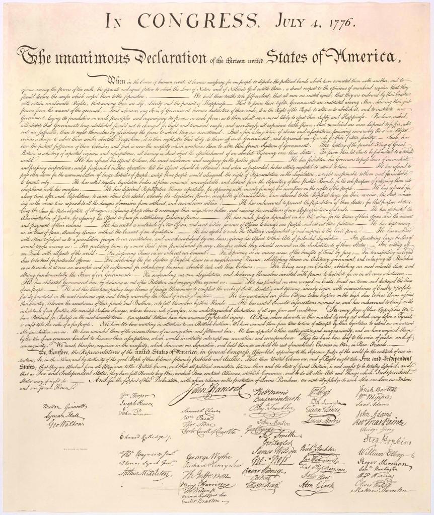 La Dichiarazione di Indipendenza Americana del 4 Luglio