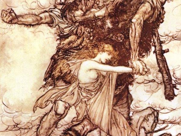L'oro del reno, di Richard Wagner - I giganti Fasolt e Fafner rapiscono Freia - Illustrazione di Arthur Rackham (1910)
