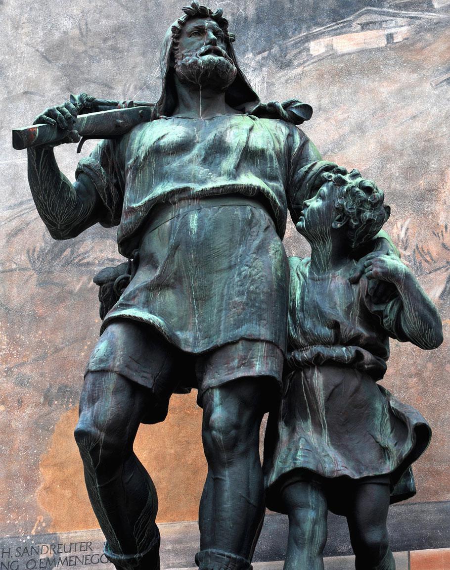 Altdorf: Statua di Guglielmo Tell con il figlio, Gualtierino
