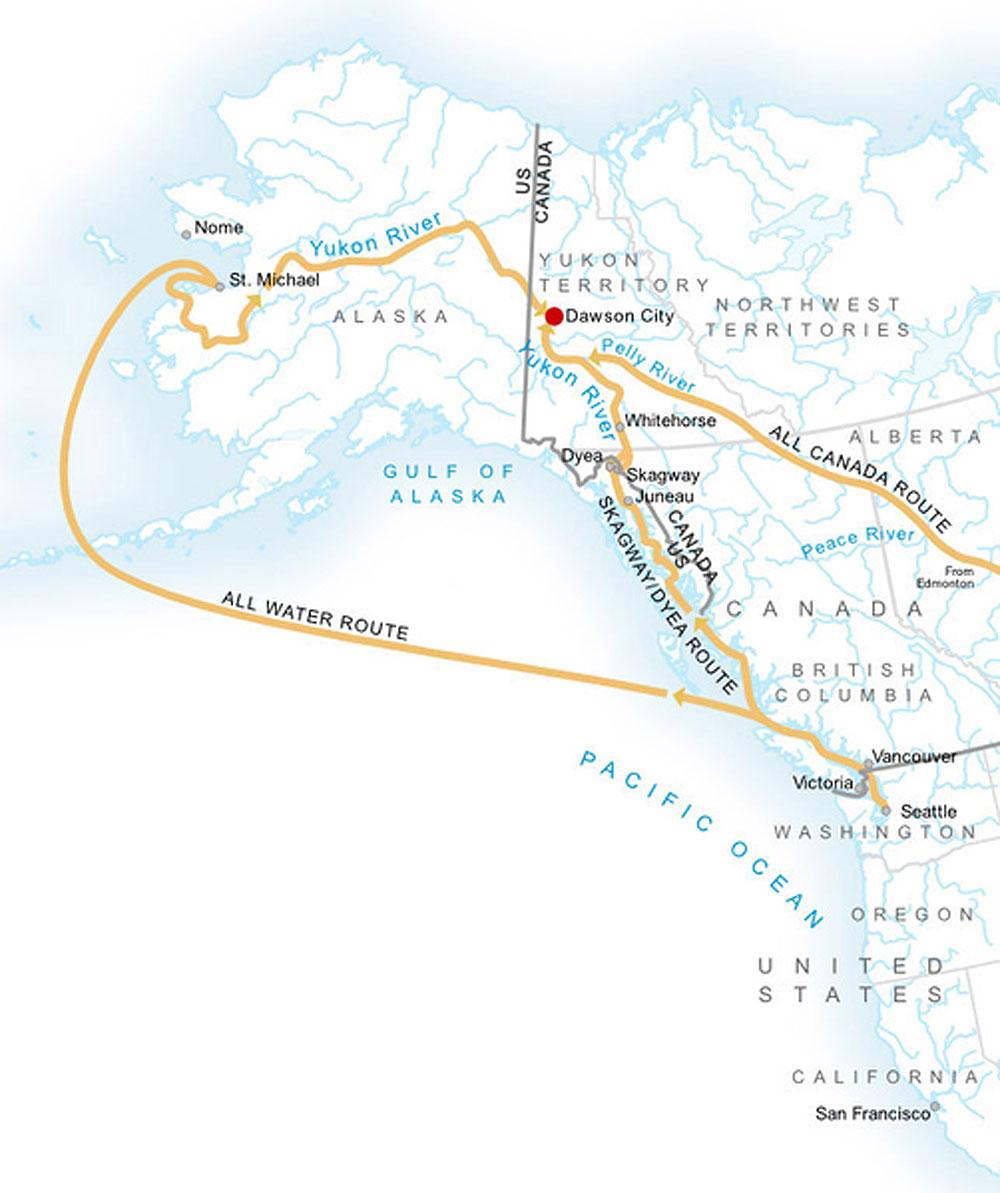 Le rotte della corsa all'oro del Klondike