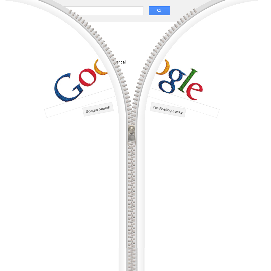 Il doodle di Google che il 24 aprile 2012 celebra la nascita di Gideon Sundback, inventore della cerniera lampo