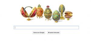 30 maggio 2012, Doodle celebrante il 166° anno dalla nascita di Peter Carl Fabergé, gioielliere e orafo russo autore delle famose uova