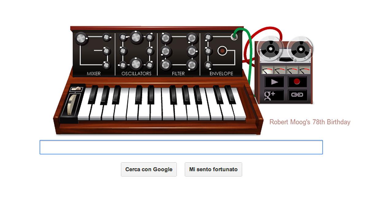 Doodle Google del 23 maggio 2012, dedicato a Robert Moog