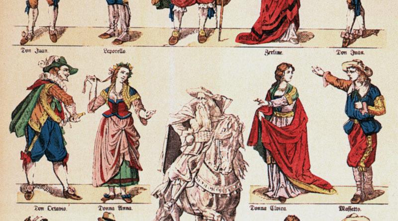"""Illustrazione raffigurante i personaggi del """"Don Giovanni"""" di Mozart"""