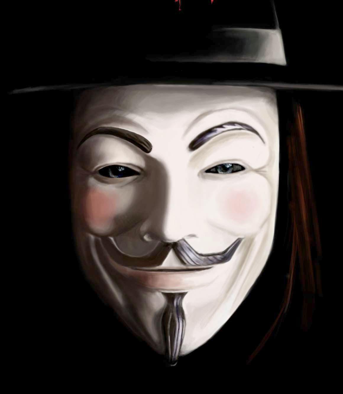 La maschera di V per vendetta (rappresentante Guy Fawkes)