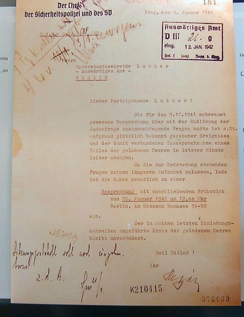 Conferenza di Wannsee - Lettera di invito da Reinhard Heydrich a Martin Luther