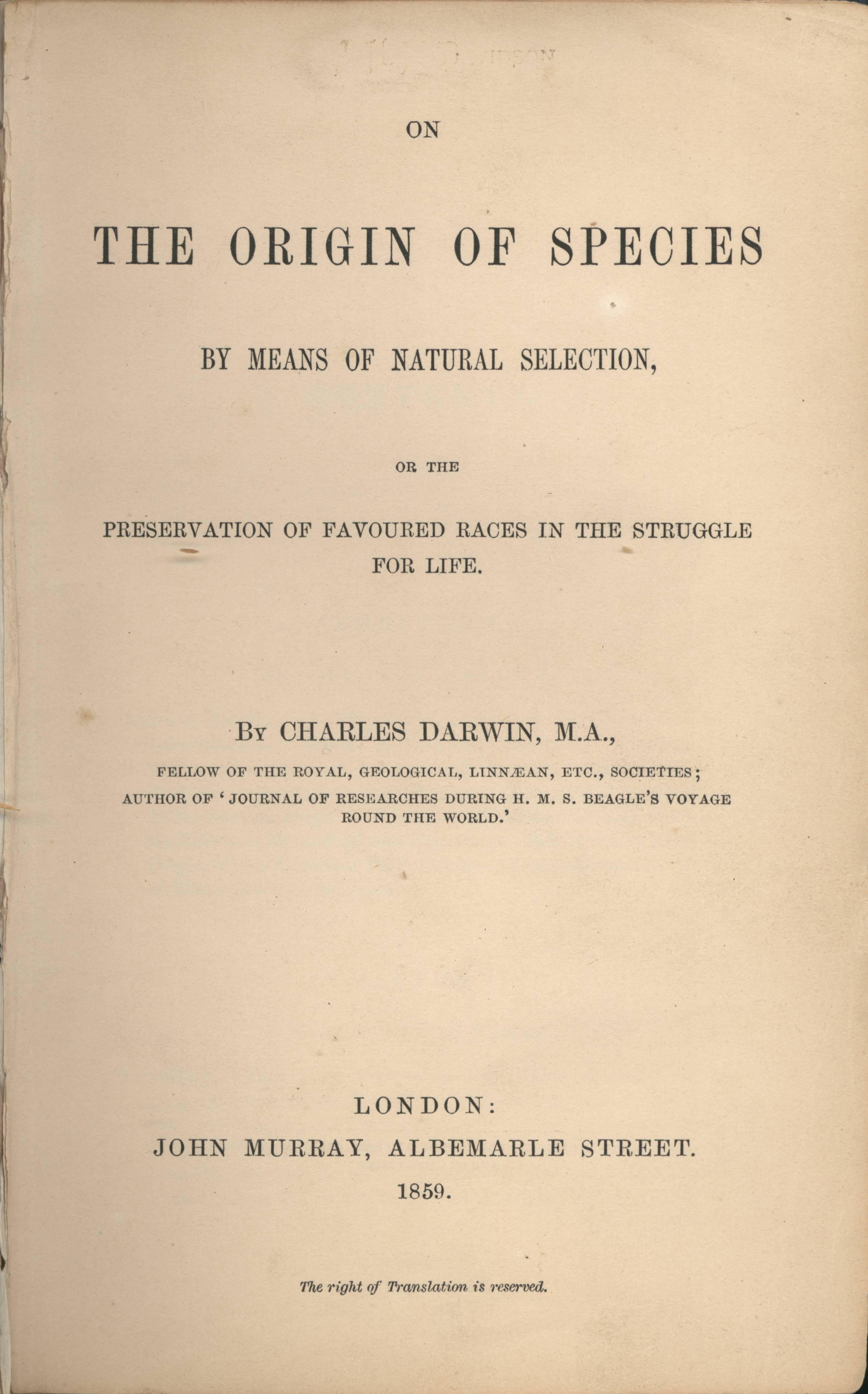"""Frontespizio prima edizione """"L'origine delle specie"""""""