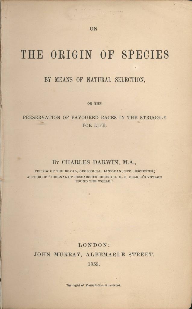 """""""L'origine delle specie"""", frontespizio della prima edizione (24 novembre 1859)"""