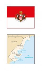 Bandiera del Principato di Monaco con stemma della famiglia Grimaldi e cartina geografica