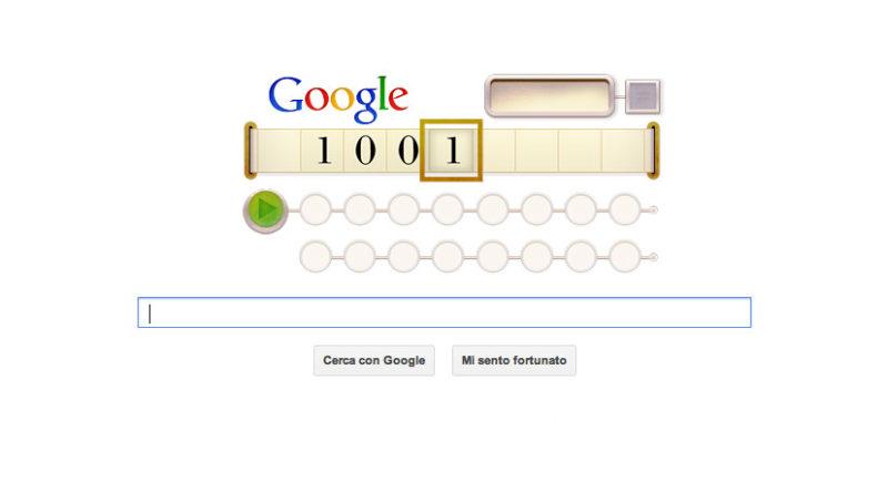 Doodle Google che celebra i 100 anni dalla nascita di Alan Turing (23 giugno 2012)