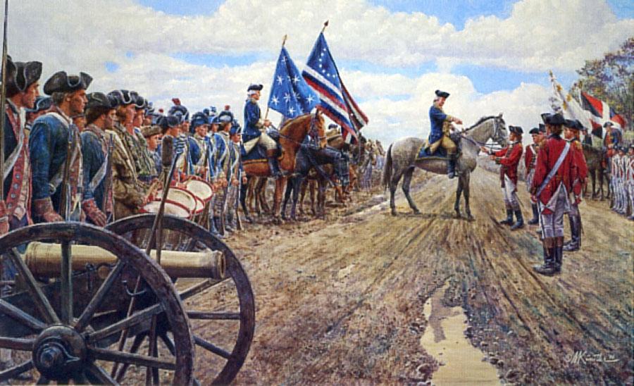 Soldati americani (giubbe blu) schierati di fronte a truppe inglesi