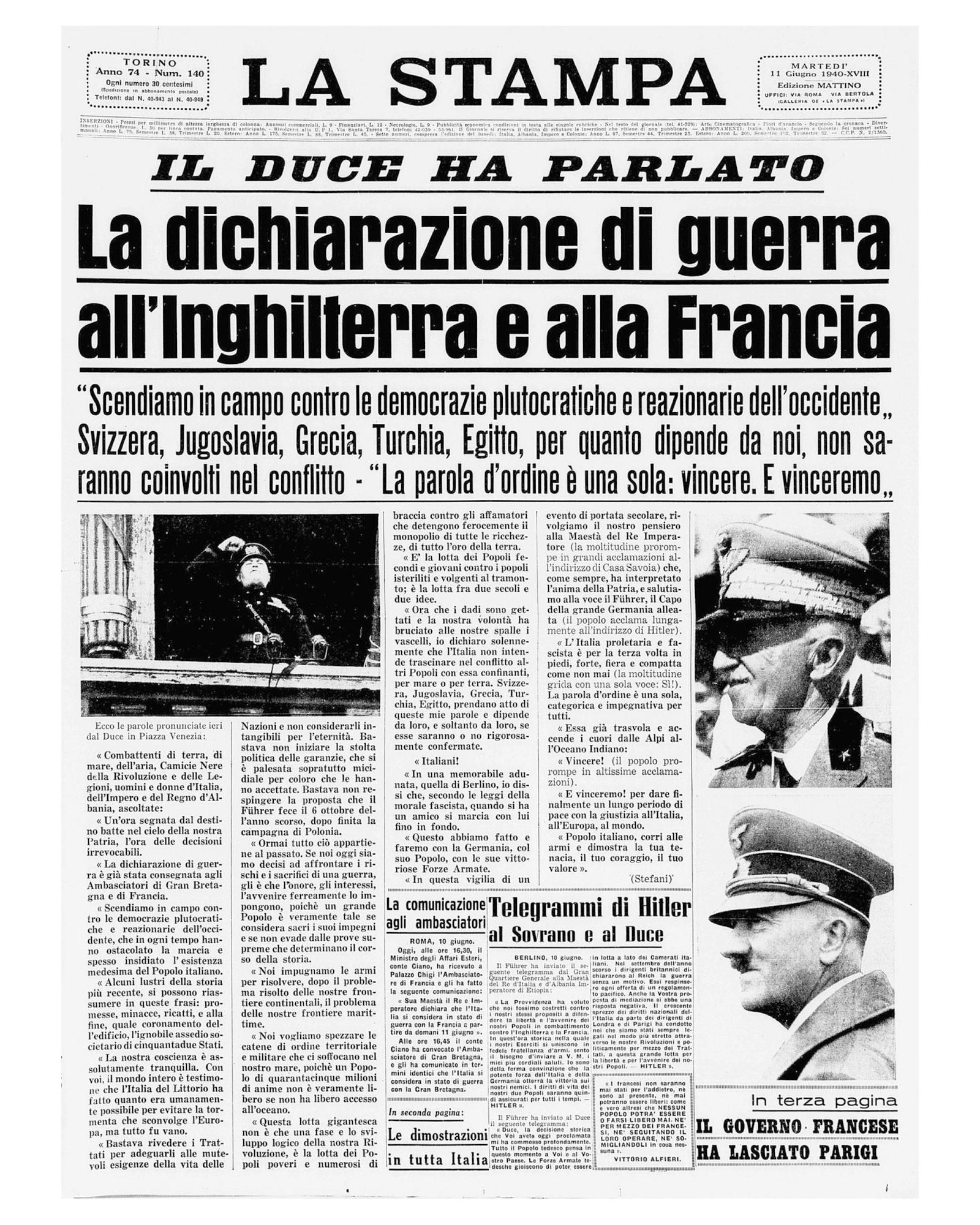 La Stampa, copertina del giorno 11 giugno 1940