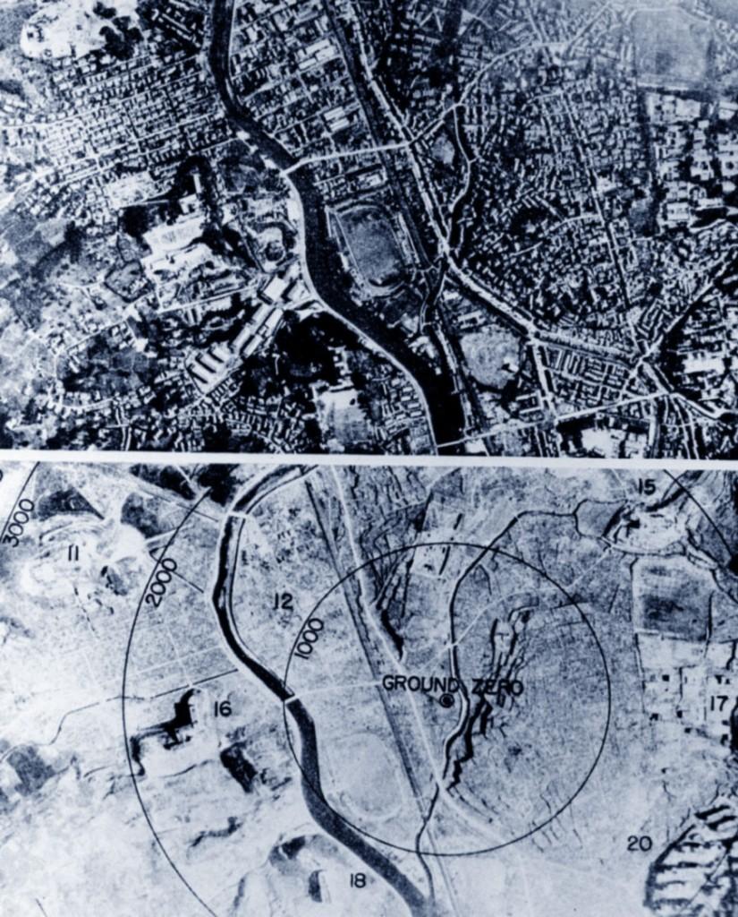 La città di Nagasaki prima e dopo la bomba atomica