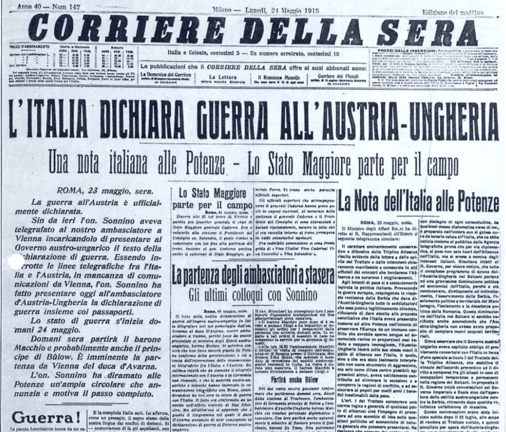 Lo scoppio della Prima Guerra Mondiale, Il Corriere della Sera del 24 maggio 1915