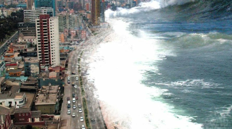 Una foto dello tsunami asiatico (Oceano Indiano, 26 dicembre 2004)