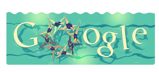 Doodle Google Olimpiadi - Londra 2012 - Nuoto sincronizzato