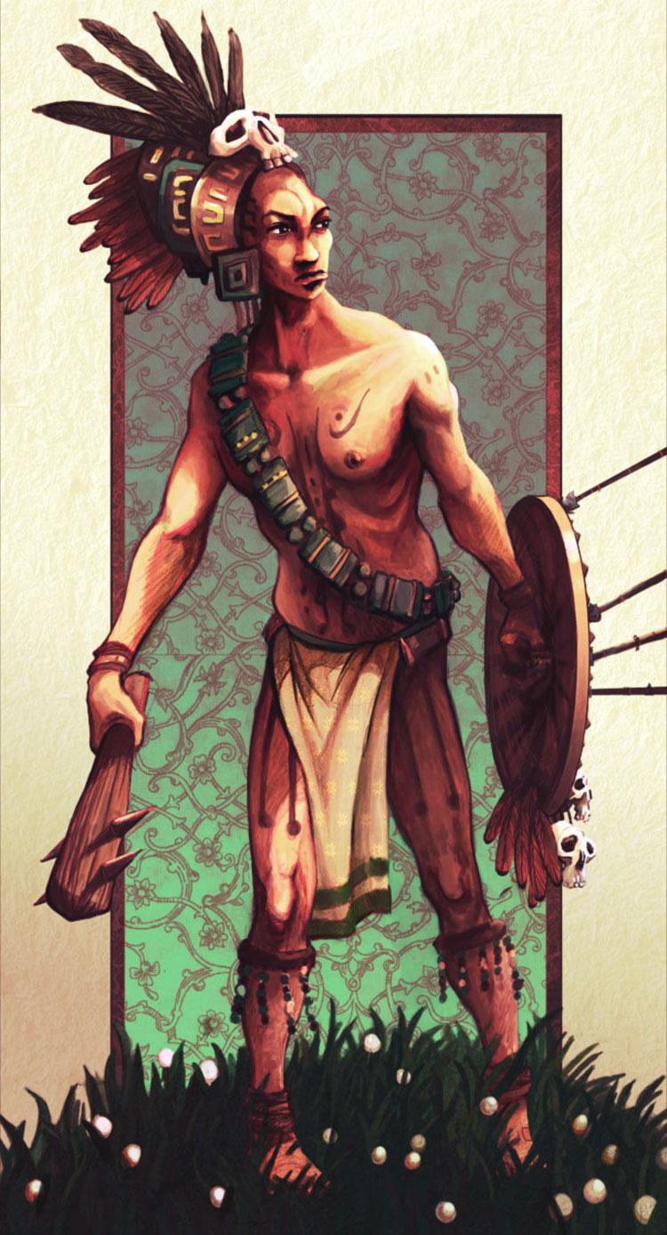 Illustrazione di un guerriero Maya armato