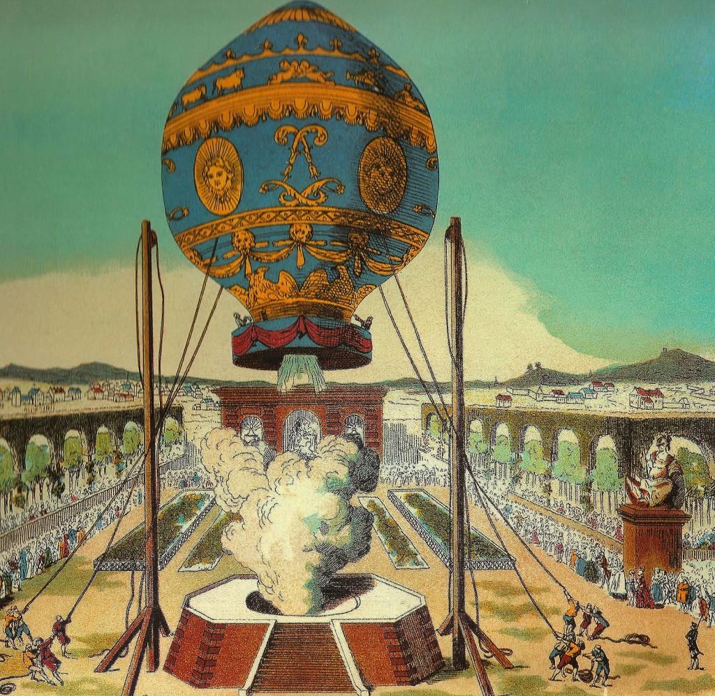 I fratelli Montgolfier presentano la Mongolfiera a Versailles