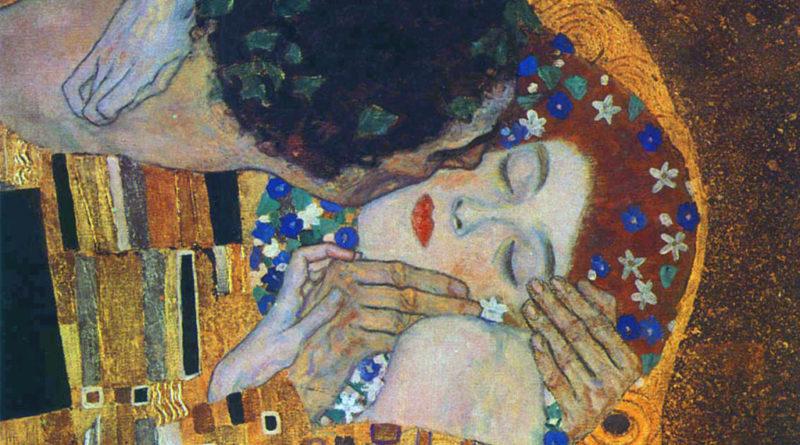 Il bacio di Klimt, dettaglio dei visi