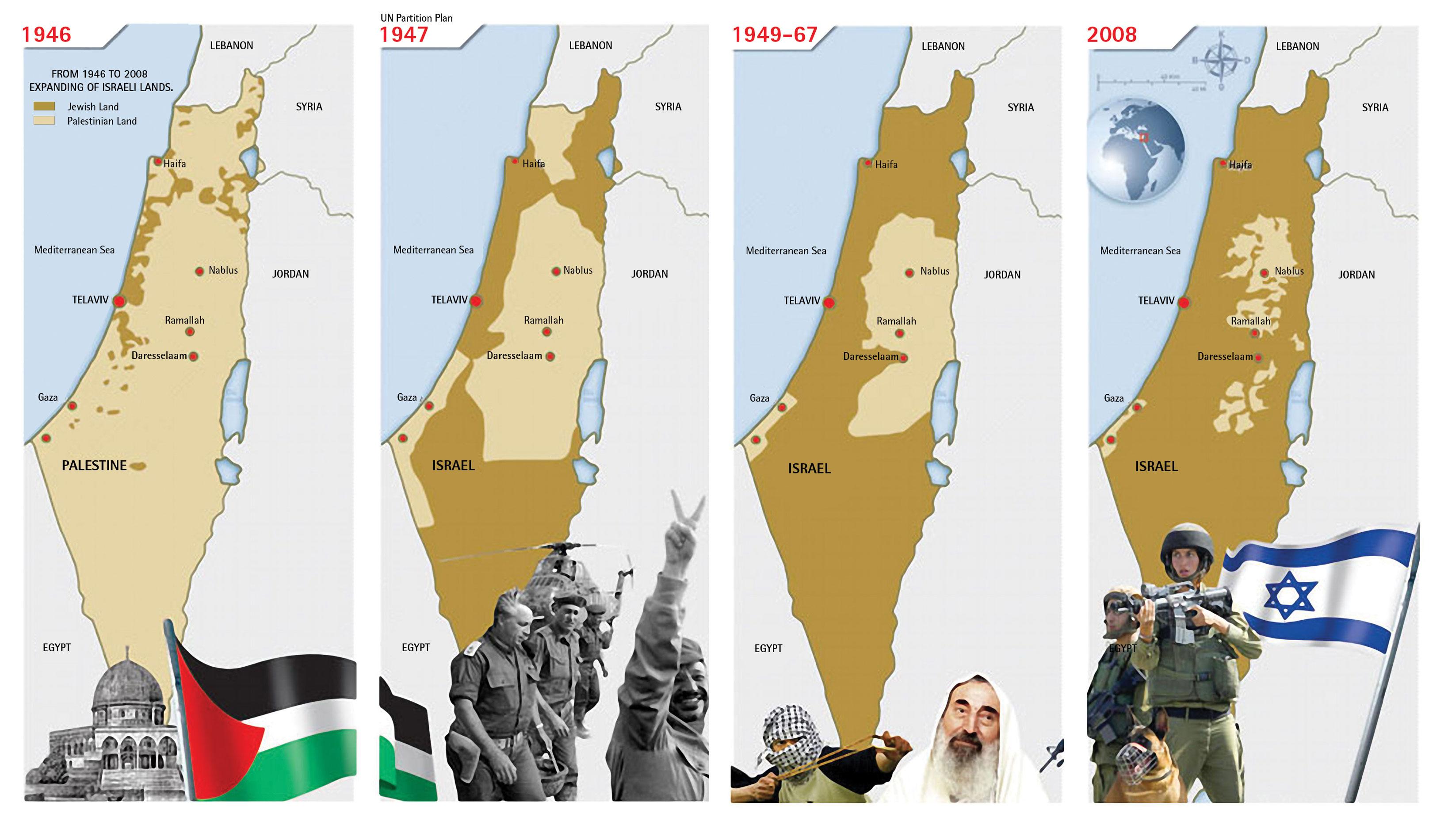 Una mappa che riassume l'evoluzione dell'occupazione dei territori palestinesi
