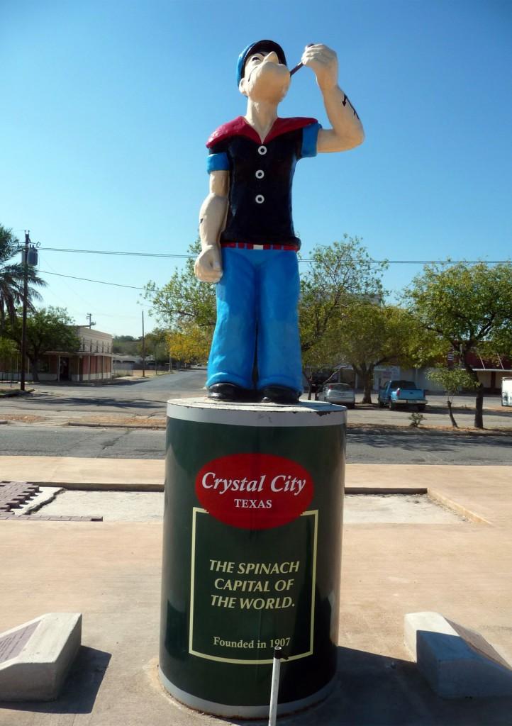 Popeye (Braccio di Ferro), la statua di Cristal City in Texas