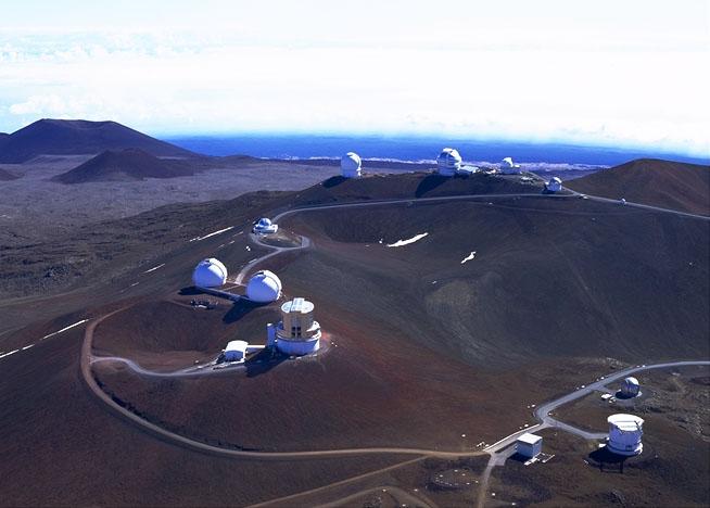 Visione aerea dell'osservatorio di Mauna Kea