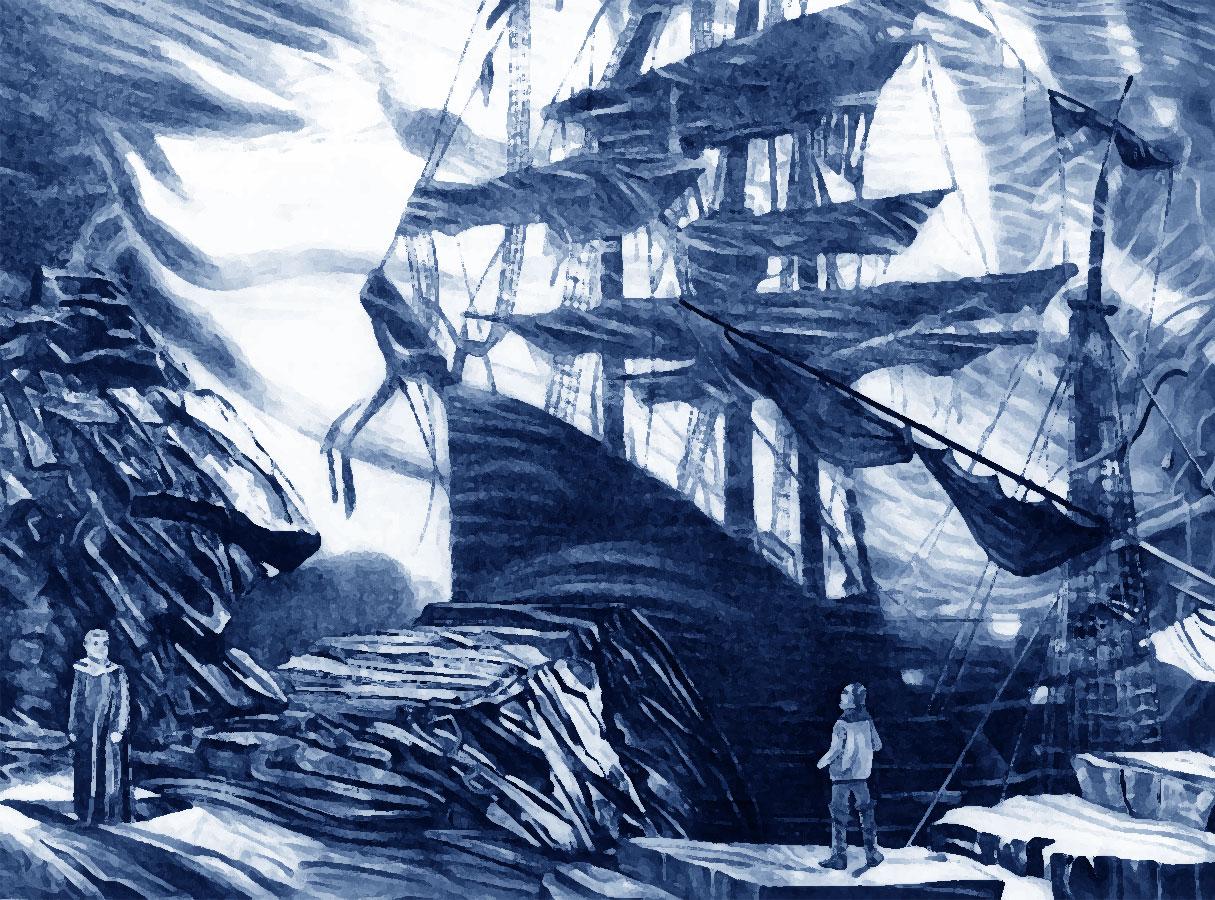 L'Olandese Volante - illustrazione del vascello fantasma