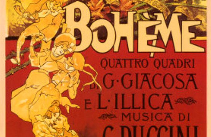 La Boheme di Puccini, locandina della prima (1 febbraio 1896)
