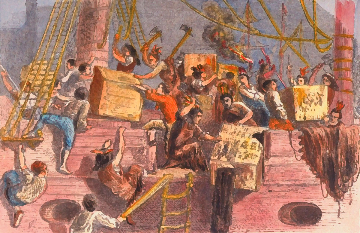 Boston Tea Party (16 dicembre 1773) - Un'illustrazione