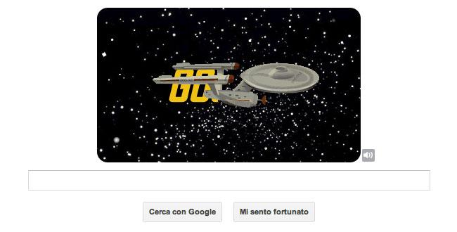 Logo Google celebrativo di Star Trek - L'Enterprise sfreccia nello spazio