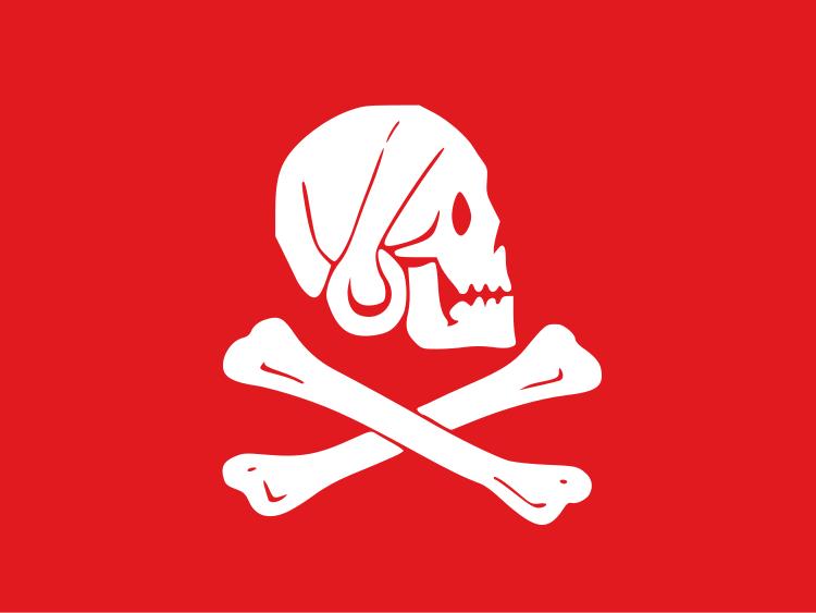 Bandiera rossa utilizzata dai pirati