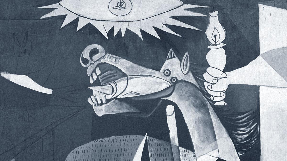 Guernica: il dettaglio della testa del cavallo con una bomba all'interno della bocca