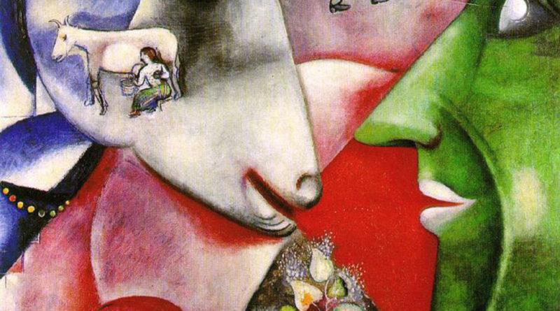 """""""Io e il villaggio"""" (indicato anche come """"Io e il mio paese""""): olio su tela, 191×150 cm, MoMA New York"""