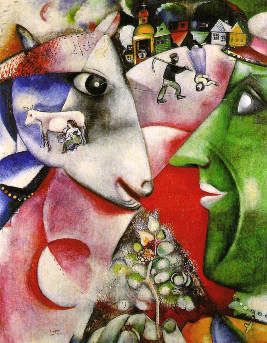 Risultati immagini per io e il villaggio chagall