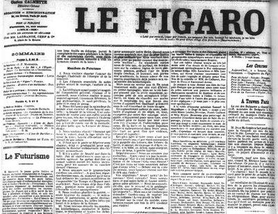 La pubblicazione del Manifesto del Futurismo su Le Figaro (20 febbraio 1909)