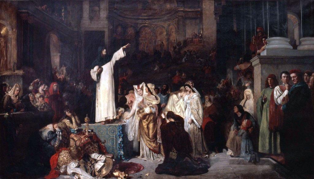 Savonarola predica contro il lusso e prepara il rogo delle vanità (quadro di Ludwig von Langenmantel, 1881)