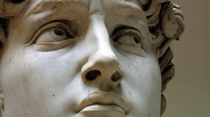 Un particolare del volto del David