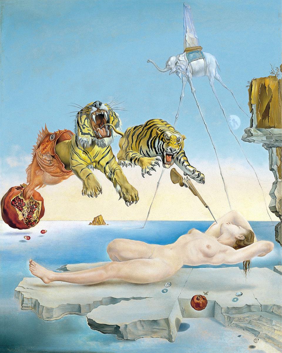 Salvador Dalí: Sogno causato dal volo di un'ape intorno a una melagrana un attimo prima del risveglio, di Salvador Dalí (1944)