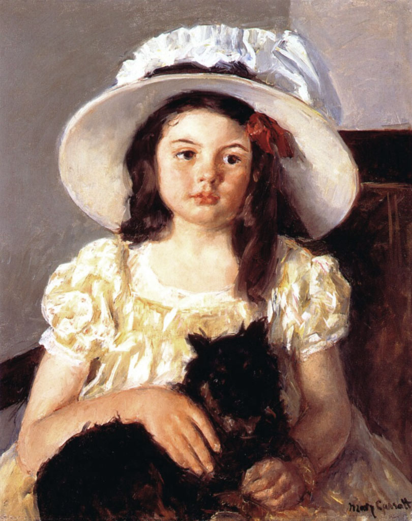 Françoise con in braccio un cagnolino nero (Mary Cassatt, 1860)