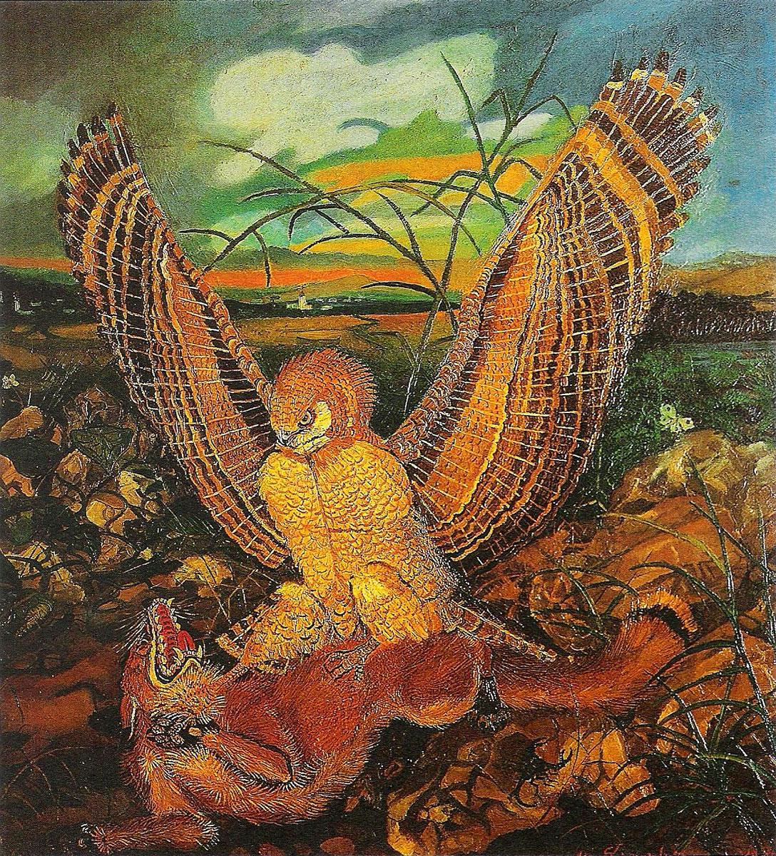 Aquila con volpe, Antonio Ligabue (1944)
