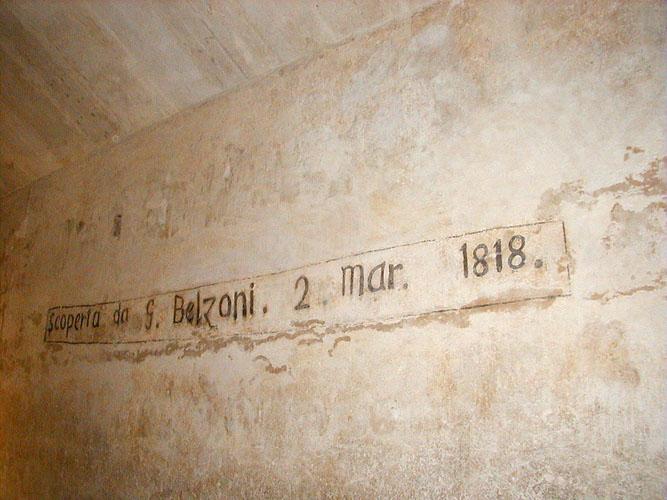 Scritta apposta da Belzoni all'interno della piramide di Chefren