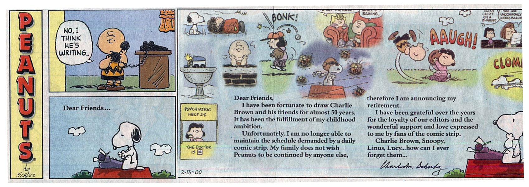 Peanuts, l'ultima striscia a fumetti