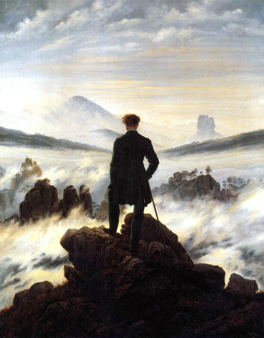 Romanticismo nell'arte: Viandante sul mare di nebbia (1818)