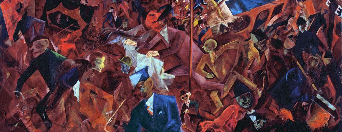 George Grosz, Metropolis (1917) - Dettaglio dei volti