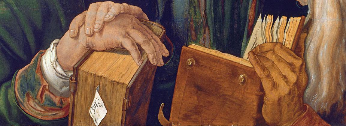 """Il dettaglio del segnalibro nel quadro """"Gesù tra i dottori"""" di Albrecht Dürer (1506)"""