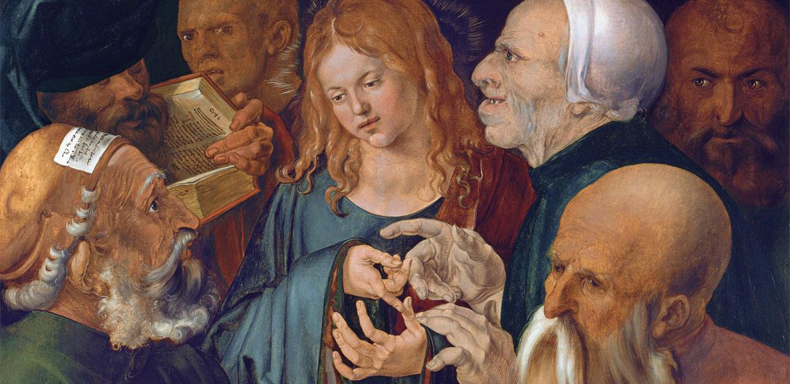 """Il dettaglio dei volti e delle mani nel quadro """"Cristo dodicenne tra i dottori"""" di Albrecht Dürer (1506)"""