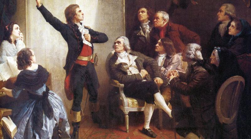 Rouget de Lisle mentre canta La Marsigliese, da lui composta, in casa del Barone di Dietrich, Sindaco di Strasburgo. Quadro di Isidore Pils.