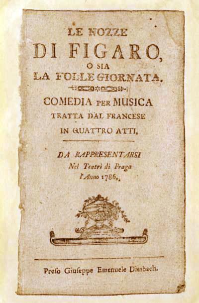 Una locandina de Le nozze di Figaro del 1786
