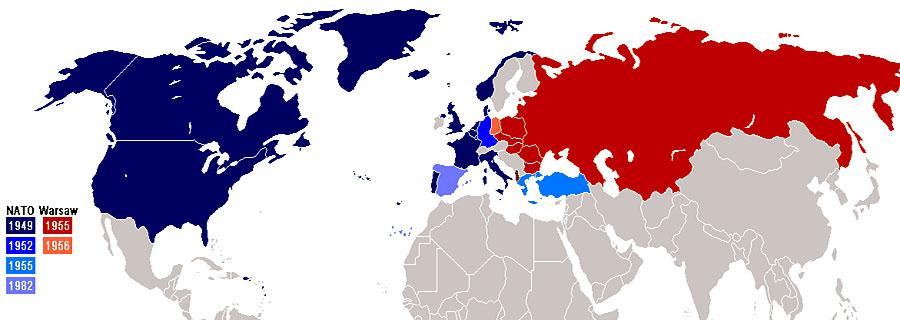 I paesi della Nato e i paesi del blocco sovietico contrapposti